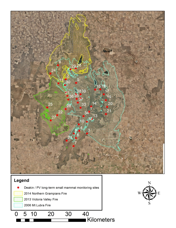 Deakin - PV long term small mammal monitoring sites with recent wildfire history